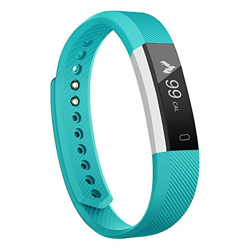 Fitness Tracker - MoreFit Slim Touch Screen Activity Health Tracker Wearable Pedometer Smart Wristband - Silver Teal
