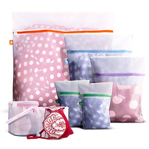 WeHome 7 Pack Laundry Lingerie Bag, Mesh Wash Bags (2 Large &1 Medium &2 Small and 2 Bra Bags) with Premium Colorful Zipper Lock for Delicates