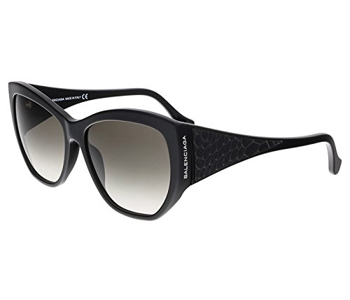 Balenciaga Women's BA22 BA/22 01B Shiny Black Leather Fashion Sunglasses - Balenciaga Sunglasses Womens