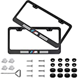 Fubai Auto Parts 2pcs M Style Stainless Steel License for BMW Plate Frame with Screw Caps Cover Set, Matte Black