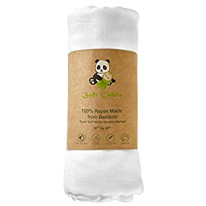 100% Bamboo White Muslin Swaddle Blanket Double Layer Extra Large by Soft Cuddle