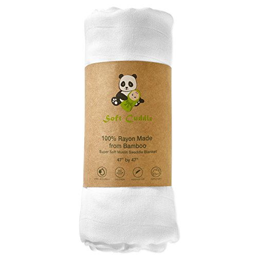 - 100% Bamboo White Muslin Swaddle Blanket Double Layer Extra Large by Soft Cuddle
