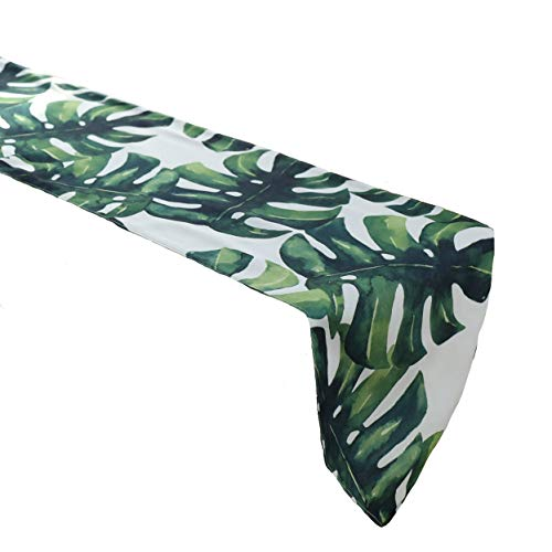 Cheerhunting Palm Leaf Table Runner, Durable Green Tropical Palm Leaf Pattern, Machine Washable Fabric Table Runner for Kitchen Décor, 12
