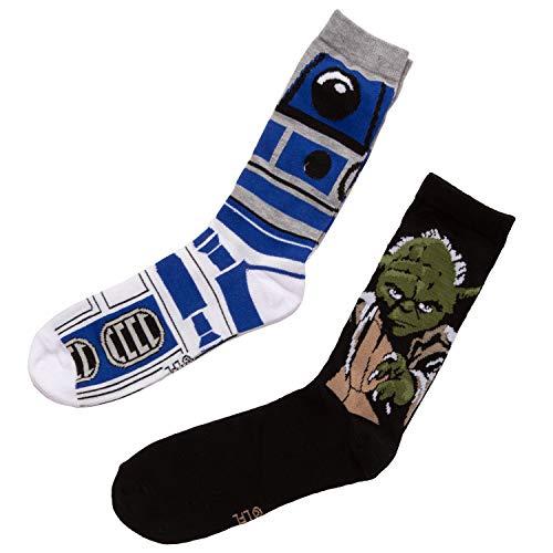 Star Wars R2D2 & Yoda 2 Pairs Pack Men's Socks - Shoe Size 6-12 - White]()