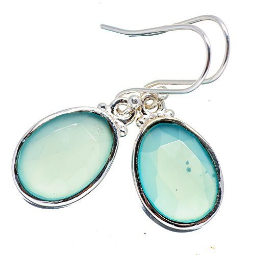 Aqua Chalcedony Earrings 1 1/2