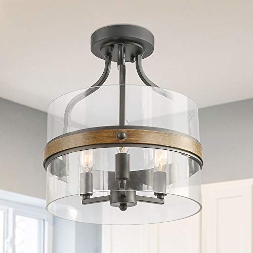 """LALUZ Faux-Wood Ring Ceiling Light with 12"""" Clear Glass Shade, 3 Lights Ceiling Light Fixture, Dark Grey Semi-Flush Ceiling Light for Bedroom, Living Room, Dining Room"""