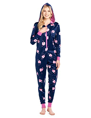 Ashford & Brooks Women's Mink Fleece Hooded One Piece Pajama Jumpsuit - Navy Pink Flamingo - 3X-Large]()