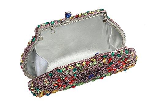 Bolsos Piedras Anillo De Forma Embrague Yilongsheng Señoras Verde Los Con Glitter Square AqwYT