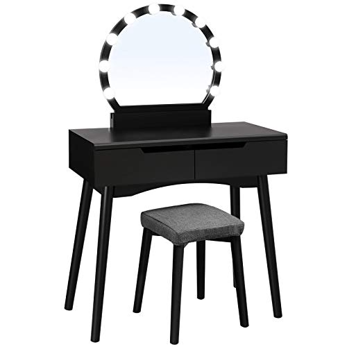 VASAGLE Vanity Set with 10 Light Bulbs and Touch Switch, Dressing Makeup Table Desk with Large Round Mirror, 2 Sliding Drawers, 1 Cushioned Stool for Bedroom, Bathroom, Black URDT11BL (Vanity Cheap Makeup Table)