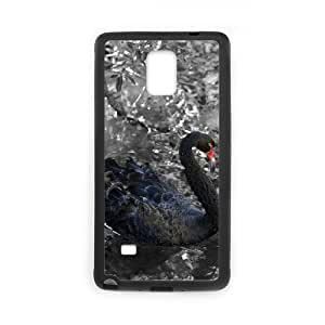 Diy Swan Phone Case for samsung galaxy note 4 Black Shell Phone JFLIFE(TM) [Pattern-3]