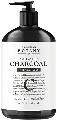 Activated Charcoal Shampoo 16 fl oz - Sulfate Free - Volumizing & Moisturizing, Gentle on Curly & Color Treated Hair, Daily Use for Men & Women - Infused with Keratin - Brooklyn Botany