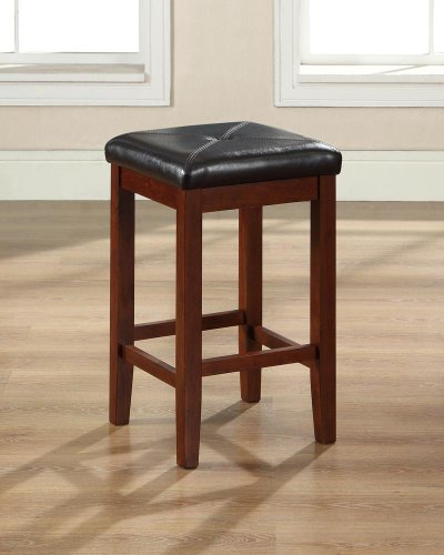 holstered Square Seat 24-inch Bar Stool - Vintage Mahogany (Set of 2) ()