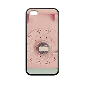 Retro Vintage Rotary Payphone Glass Bead Key Control Lovely Pink Smooth Touch Alphabet Style Awesome New Design - Snap On Black TPU Around Anti-dirt Hard Skin - For Your Love iPhone 5c Case Protector