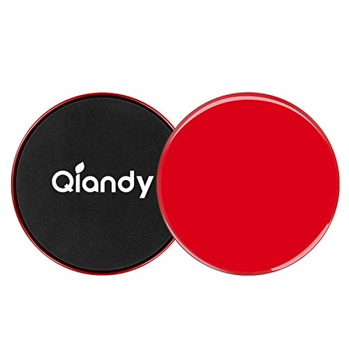 Qiandy Exercise Sliders, Workout Sliders, Core Sliders with Double Side and Work Smoothly on Any Surface, Compact for Travel and Home Ab Workout(Red)