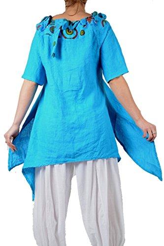 Sommer pure Leinen assymetrisch Kleid Tunika zipfelig Lagenlook 36 38 40 42  44 S M L Türkis Blau Strand Urlaub