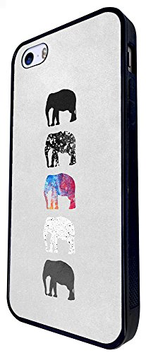 1423 - Cool Fun Trendy Cute Safari Wildlife Elephant Family Cartoons Design iphone SE - 2016 Coque Fashion Trend Case Coque Protection Cover plastique et métal - Noir