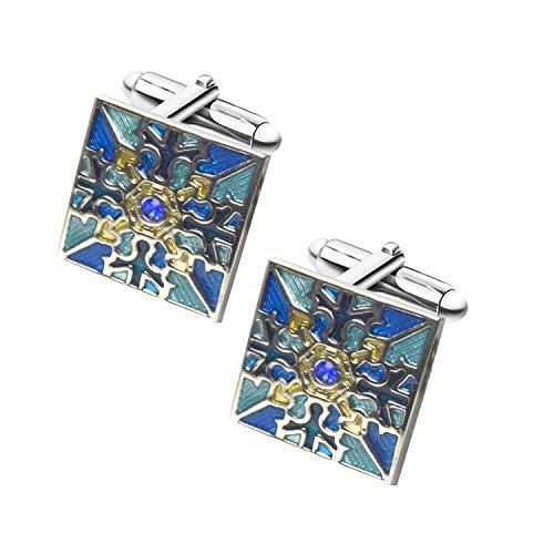 Aizm Elegant Swarovski Crystal Cufflinks Blue Glimmering Cuff Links Set Wedding for Him(Blue)
