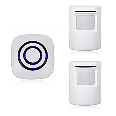 Wireless Home Security Driveway Alarm,Motion Sensor Alarm Outdoor Waterproof Chime Kit with 1 Plug-in Receiver and 2 PIR Motion Sensor Detector Alert for Business Home Office Shop, LED Indicators