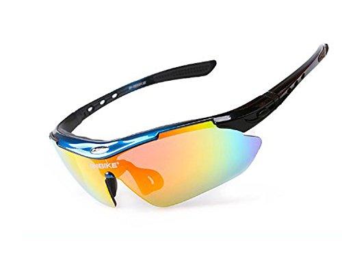 Lentes Ciclismo al negro espejos aire UV400 Gafas para Irrompibles de con Intercambiables con libre Poralizados azul Unisexo Deportes Correr sol 5 ZeleSouris Actividades q6wXznASA