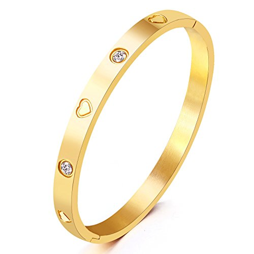 MVCOLEDY Jewelry Yellow Gold Plated Bangle Bracelet Set in Heart and Stone Stainless Steel with Crystal Bangle Bracelets for Women Jewelry Size 6.7