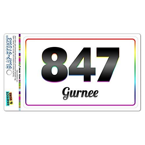 Area Code Rainbow Window Sticker 847 Illinois IL Algonquin - Vernon Hills - Gurnee (City Of Gurnee Il)