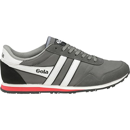 Gola Men Footwear Sneakers - Gola Men's Monaco Sneaker,Grey/White/Red Nylon/Synthetic Suede,US 9 M