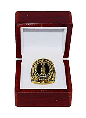 MONTREAL CANADIENS (Jacques Plante) 1959 STANLEY CUP FINAL WORLD CHAMPIONS Vintage Rare & Collectible Replica Hockey Gold NHL Championship Ring with Cherrywood Display Box