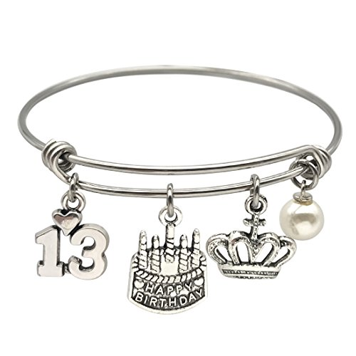 JJTZX 13th 16th 21st 30th 40th 50th 60th Birthday Gifts for Her Stainless Steel Expandable Wire Bangle Birthday Bracelet Pick Your Year (13th Birthday) -