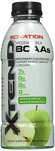 Scivation Xtend BCAA Sports Drink, Hydration + BCAAs, Branched Chain Amino Acids, Green Apple, 12 Count