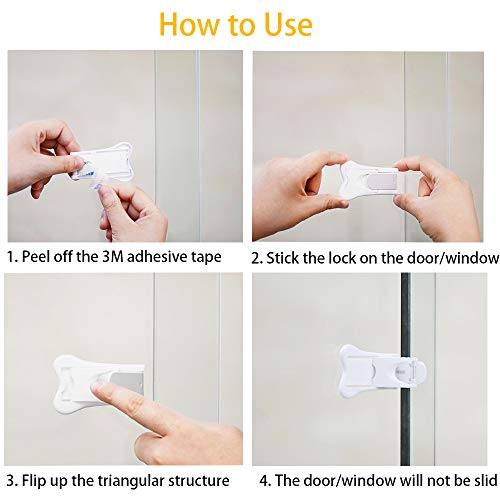 Sliding Door Lock, QYUKUYU Baby Safety Childproof Locks for Closets, Window,Doors, Shutters & More, No Tools Needed (4 Pack, White) by QYUKUYU (Image #1)