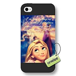 Cartoon Movie Disney Tangled Princess Rapunzel Frosted Phone Case & Cover for iPhone 4/4s - Black