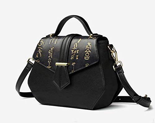 Luxury Bag Casual Cimic Leather Designer Women Crossbody Black Handbag Genuine Vintage Office Shoulder 6pYXwp
