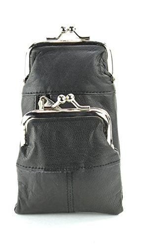 (Bacci L.I. Womens Genuine Leather Cigarette Case & Lighter Holder with Twist Clasp Change Purse (Black))