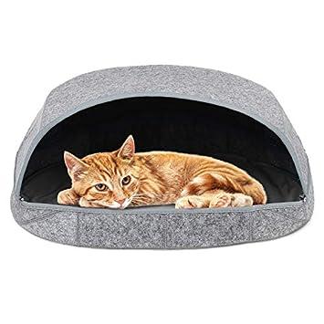 Amazon.com: zhimei Felt Cat Bed Pets Sleep Zone Cuddle Cave ...
