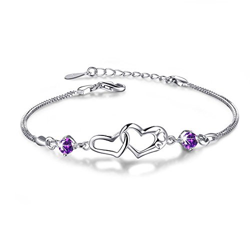 Double Heart Adjustable S925 Sterling Silver Crystal Interlocking Bracelet ,More Women Girls Girlfriend Prefer to Wear This Bracelet Everyday,Gift for Her Birthday Back to School Gift for Her Teacher