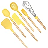 Silicone Cooking Kitchen Utensil Set 6PCS - Nonstick Heat Resistant Cooking Tool with Natural Wooden Handles, Balloon whisk, Slotted Spoon, Soup Ladle, Spatula, Long Scraper and Pastry Brush