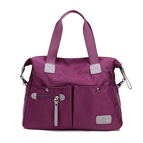 MIUINCY Women's Canvas Handbag Everyday Purse Tote Crossbody Multipurpose Shoulder Bag Purple