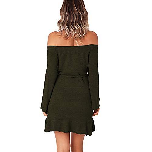 JIZHI Vaina M Mini Green Vestido Color Mujer Un 7rOwnSz7q