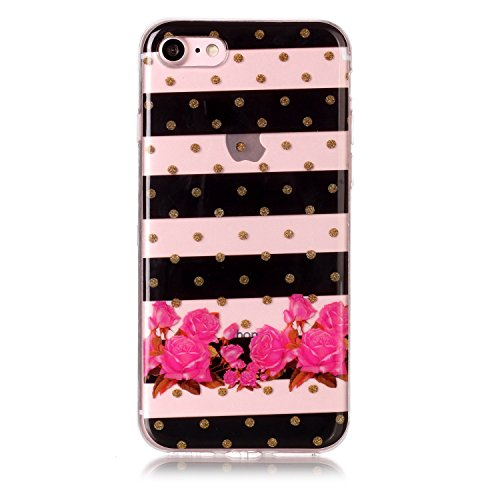 """Hülle iPhone 7 / iPhone 8 , LH Gestreifte Blumen TPU Weich Muschel Tasche Schutzhülle Silikon Handyhülle Schale Cover Case Gehäuse für Apple iPhone 7 / iPhone 84.7"""""""