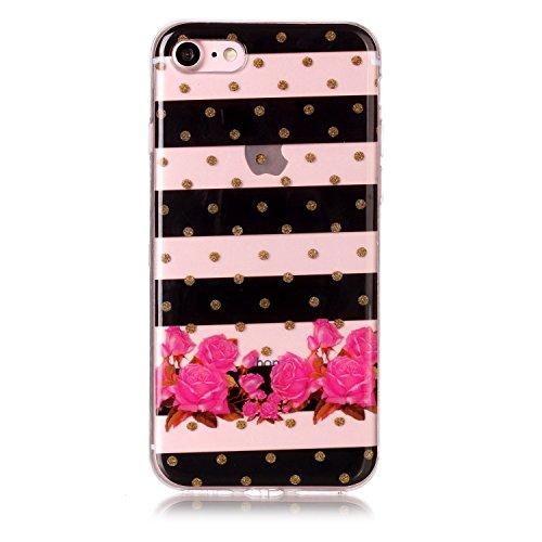Coque Etui iPhone 8 , Leiai Fleur Rouge Silicone Gel Case Avant et Arrière Intégral Full Protection Cover Transparent TPU Housse Anti-rayures pour Apple iPhone 8