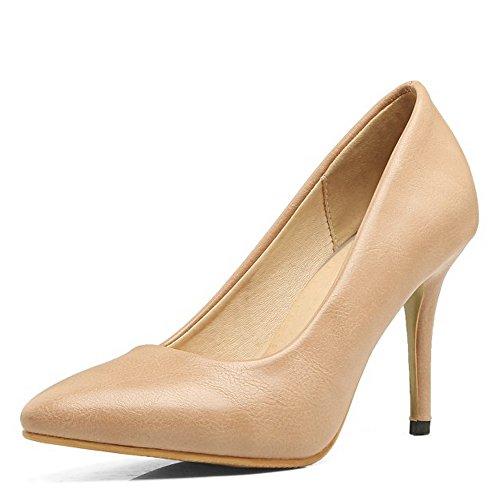 COOLCEPT Mujer Usual Vestir Sin Cordones Puntiagudo Oficina Zapatos Tacon De Aguja Bombas Zapatos Albaricoque