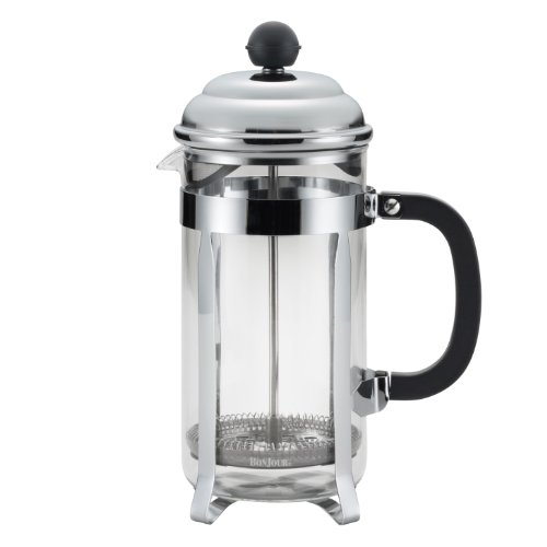 - BonJour Coffee Stainless Steel French Press with Glass Carafe, 33.8-Ounce, Bijoux, Black Handle
