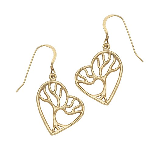 (Tree of Life Enchanted Heart Pendant Necklace (Gold Earrings))