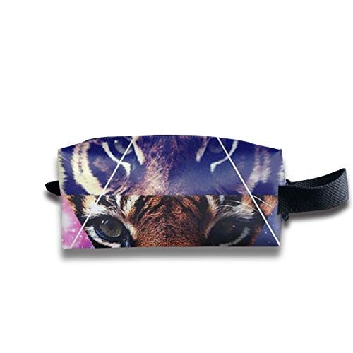V5DGFJH.B Clash Durable Zipper Wallet Makeup Handbag with Wrist Band Tiger Eyes Toiletry Bag -