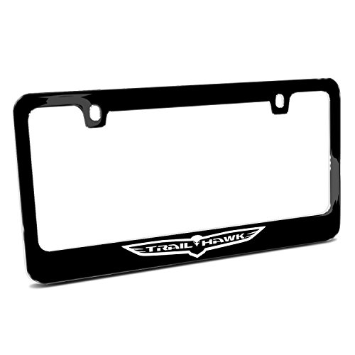 Jeep Trailhawk Outline Black Metal License Plate - Frame Outline