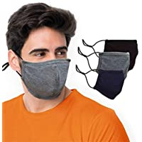 "BLU HORN Face Mask Large, Reusable, Washable, Breathable Cloth, 2 Ply 100% Cotton Face Mask €"" with Filter Pocket €"" Unisex Mask €"" Indoor/Outdoor Use (Black, Blue, Gray 3 Pack)"