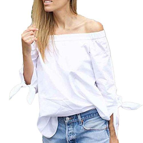 Lisingtool Women's Elegant Bow Shoulder Blouse Shirt (M, White)