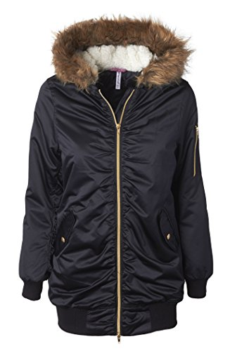 Sportoli Women's Bomber Winter Puffer Jacket with Attached Sherpa Lined Hood and Removable Faux Fur Trim Black (Size ()