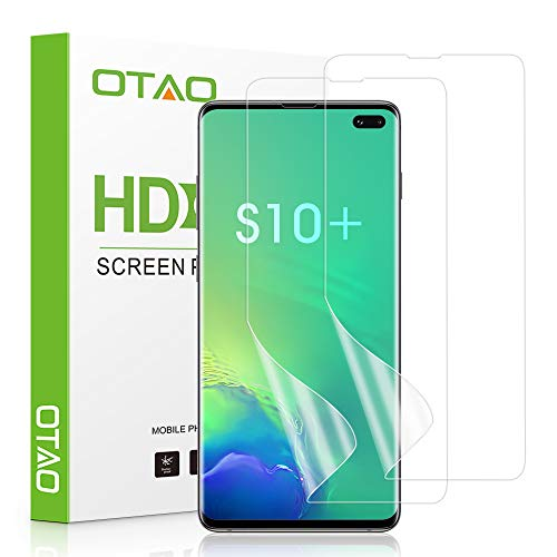 OTAO Galaxy S10 Plus Screen Protector (2-Pack)(Not Glass), Full Coverage Screen Protector Case Friendly HD Clear Anti-Bubble Film for Samsung S10+