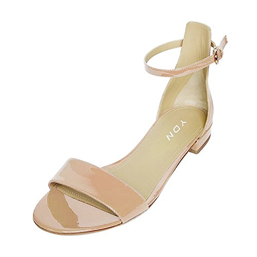YDN Womens Chic Block Low Heel Sandals With Buckle Solid Ankle Strap Flat Shoes Comfy Nude 10